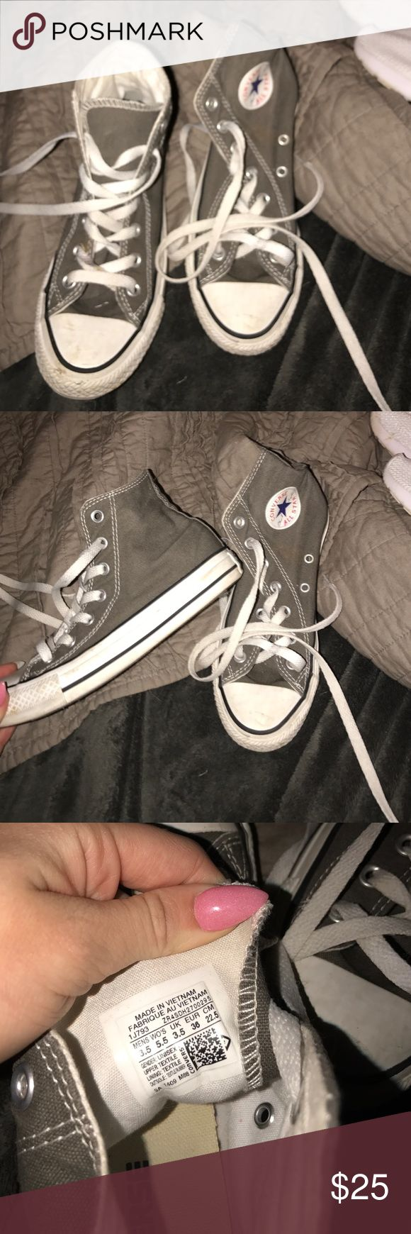 Grey high top converse These have been used but have lots of where left. Size kids 3 1/2 and woman's 5 1/2 Converse Shoes Sneakers