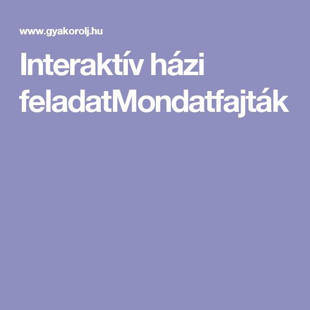 Interaktív házi feladatMondatfajták