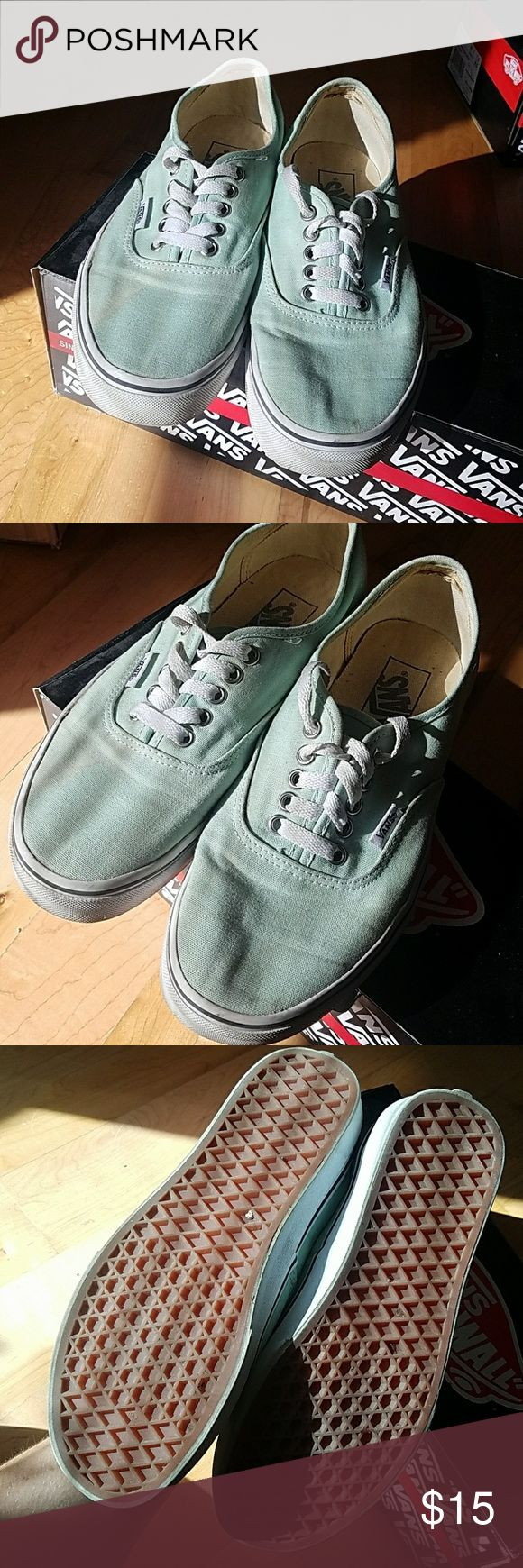 Vans Super cute mint vans classics I believe. Size 8.5, there's a little stain on the right shoe you can see in the first photo but perfect shape otherwise. Vans Shoes Sneakers