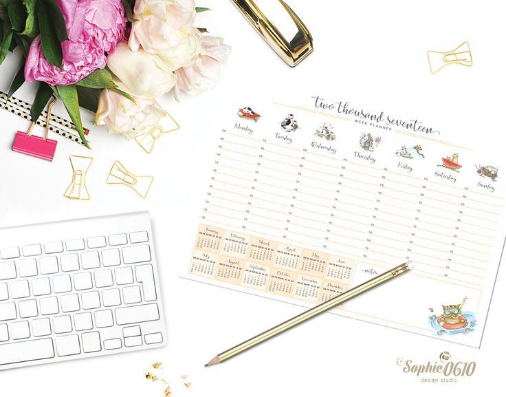 Printable Week Planner And Calendar 2017 Cat Lover Weekly Organizer Digital
