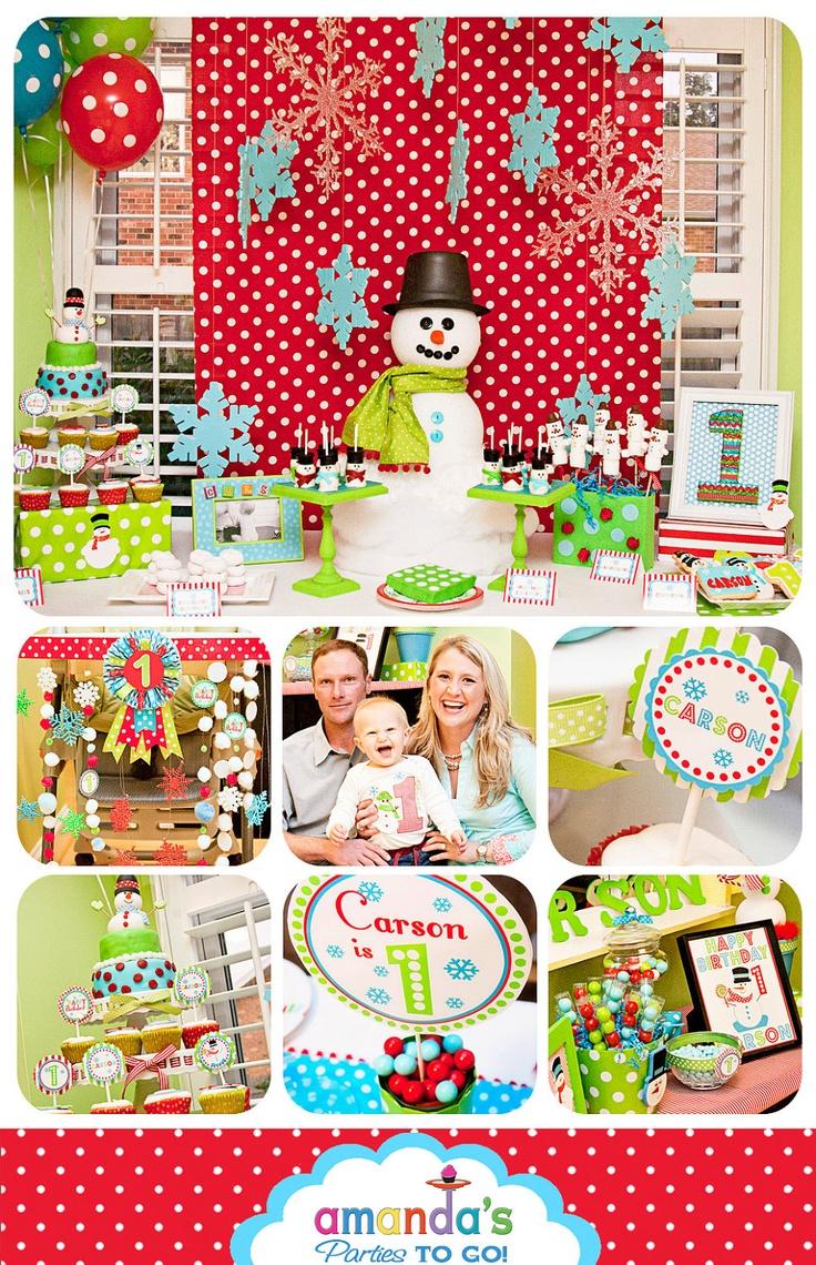 Snowman Party - Winter ONEderland Birthday - Christmas birthday Printable set by Amanda's Parties To Go. $29.00, via Etsy.