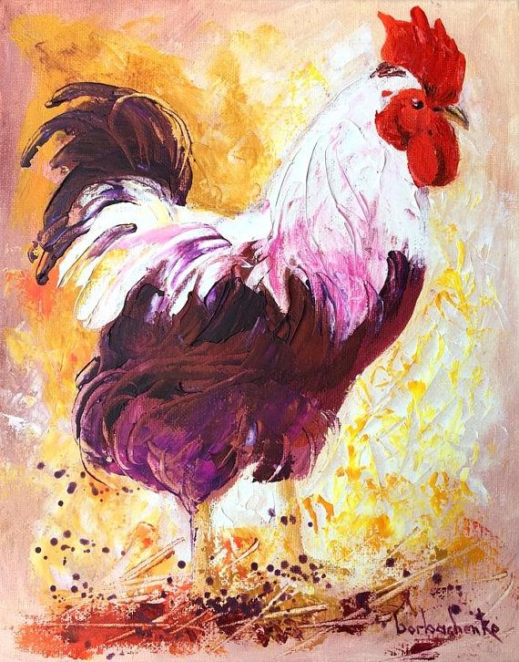 Rooster Art Chicken_Original Oil Painting by Tetiana