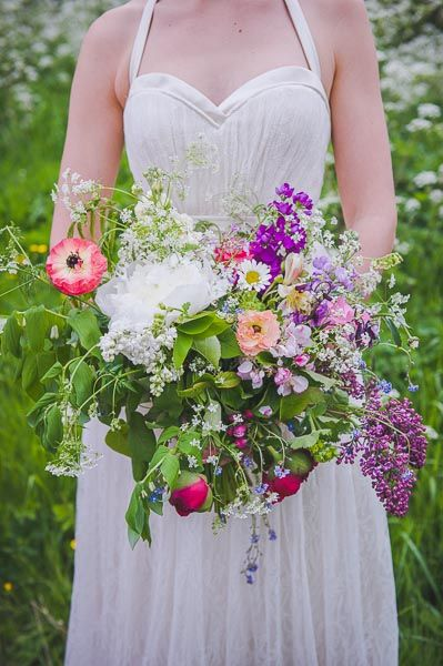 Late Spring bouquet of Lilac, Apple Blossom, peonies, ,Cow Parsley, Ranunculus by BareBlooms (http://www.bareblooms.co.uk/) Photography by: http://cloud9weddingphotography.com/