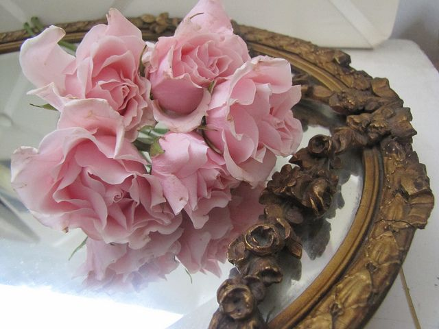./: Vintage Mirror, Pink Roses, Style, Dream, Roses Mirror, Beauty, Things, Flowers