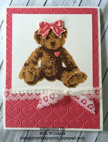 Stampin Up Baby Bear stamp set. Kim Williams, stampinwithkjoyink.typepad.com. Pink Pineapple Paper Crafts. 3 Step Stamping Technique. Happy Hearts. Baby Card ideas. Stampin Up card ideas.
