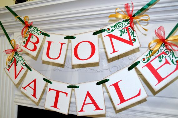 Buon Natale, Merry Christmas Banner, Vintage Inspired Italian Christmas Banners Garlands, Red Green Gold Italian Christmas