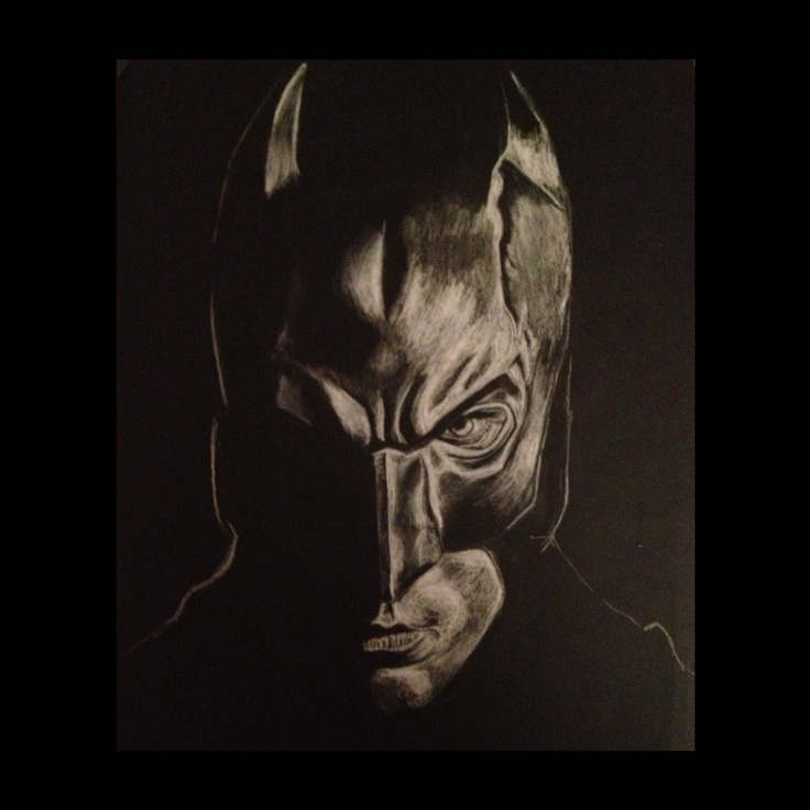 White charcoal on black paper #batman #charcoal #drawing