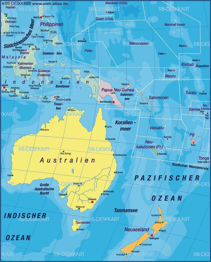 Karte von Australien-Ozeanien, Weltkarte politisch
