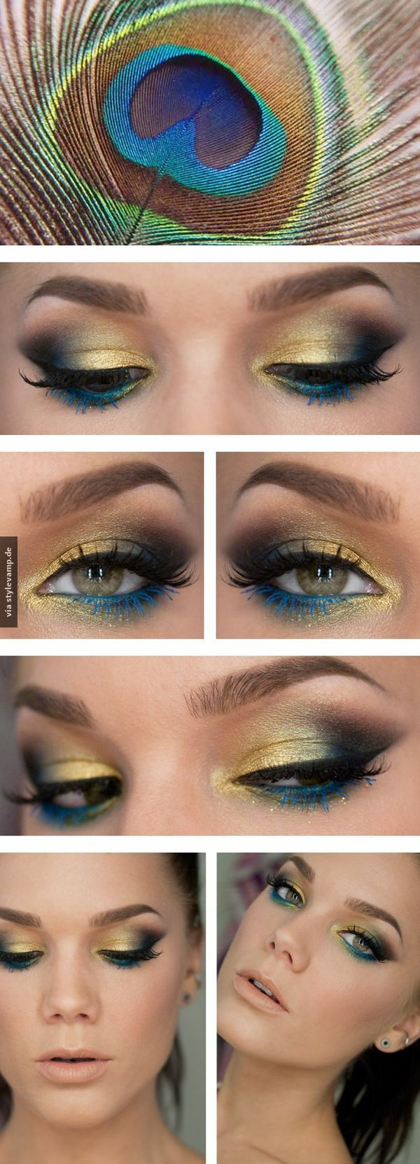 Dieses Make-Up ist wie eine Pfauenfeder! Wunderschön und man findet es nicht so oft! (Halloween Schminke)