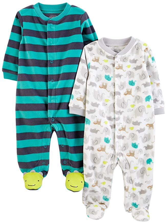 Pack of 2 Simple Joys by Carters Baby Boys 2-Pack Fleece Footed Sleep and Play