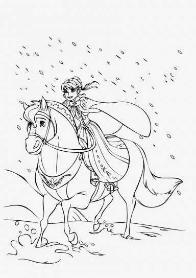 Dibujo de Anna a caballo - Anna, dulce y tímida, cabalgando entre la nieve.