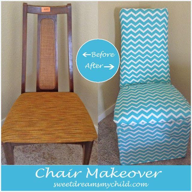 DIY Chevron Chair Makeover @sweetdreamsmychild.com