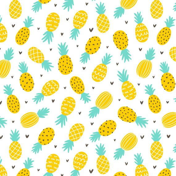 Pineapple Fabric - Pineapple Hearts Large Scale By Stolenpencil - Tropical Summer Fruits Cotton Fabric By The Yard With Spoonflower