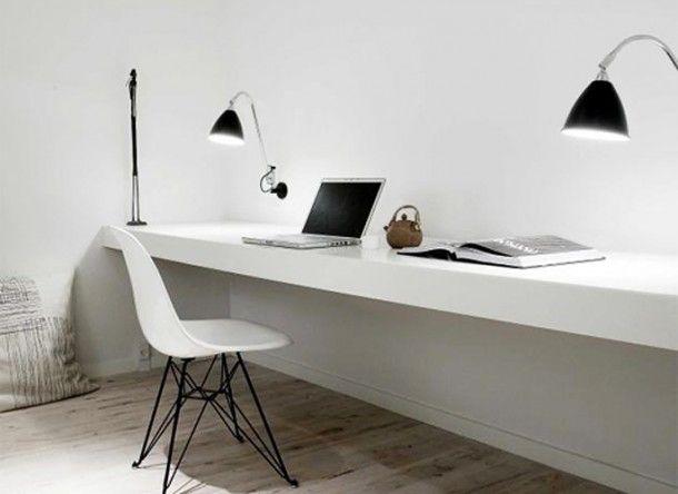 Mijn stijl: strak, stoer, sober, natuurlijk en beetje chique   Werkplek met witte blad. Door Astrid