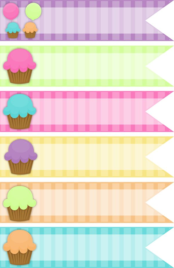 Free Cupcake Digital Ribbons The Happy Birthday Keren Collection - The Cottage Market