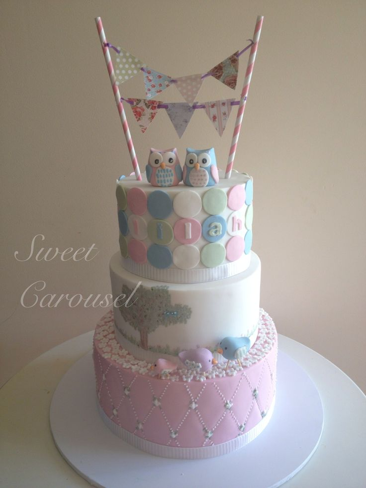 Owl Christening Cake by Sweet Carousel
