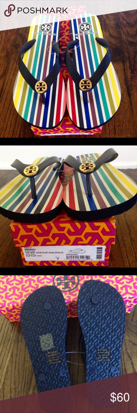 Tory Burch flip flops Brand new multi-colour flips flops in box Tory Burch Shoes Slippers