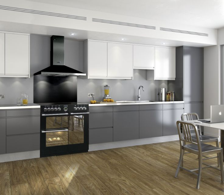 Kitchen Decor With Black Appliances: Stoves Sterling Range Cooker With Black Hood And