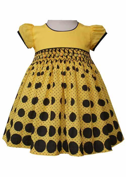 Beautiful Girls Bumblebee Hand Smocked Black Polka Dot Dress – Carousel Wear