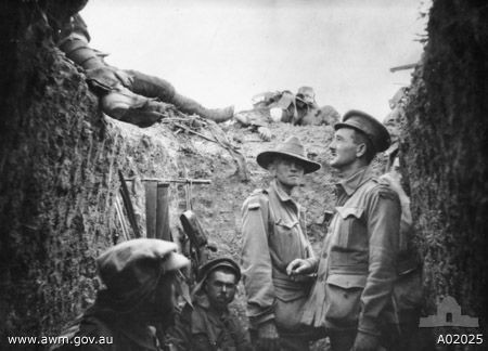 Australian Army Captain Leslie Morshead in a trench during Battle of Lone Pine, Gallipoli, Turkey, circa 6-10 Aug 1915; Source: Australian War Memorial; ID: A02025