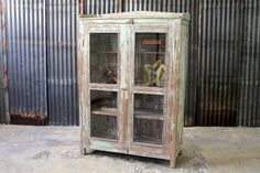 Bar Cabinet Restored Antique Indian Teak Storage Cabinet Curio Media Stand Moroccan Decor Mediterranean Decor