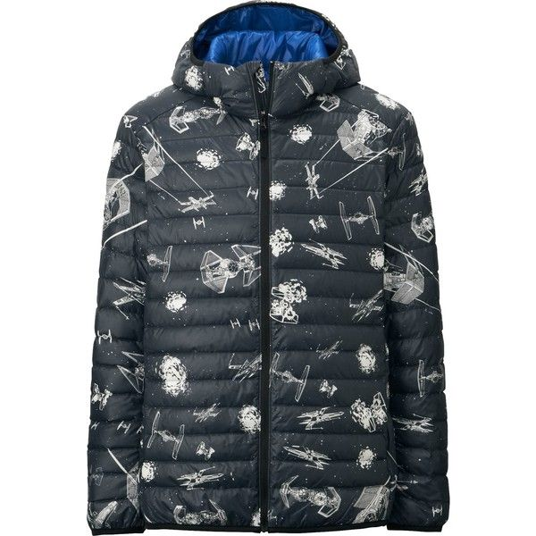 UNIQLO STAR WARS Ultra Light Down Parka ($43) ❤ liked on Polyvore featuring men's fashion, men's clothing, men's outerwear, men's coats and black