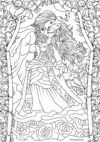 romantic coloring pages Horror Scenes – Vampire Romance | Art | Coloring pages, Adult  romantic coloring pages