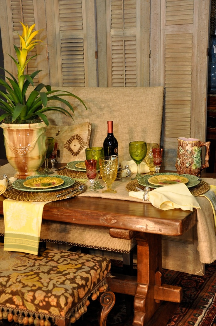 56 best images about french country tablescapes on for Yellow farmhouse table