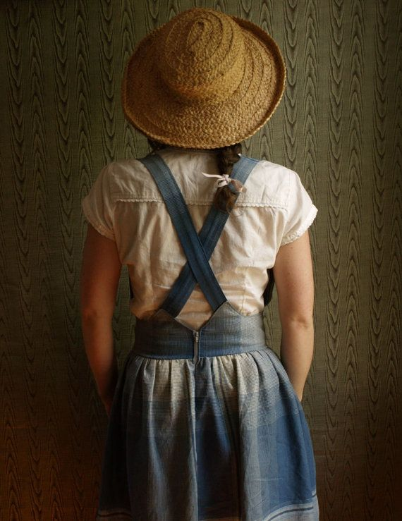 Gathered pinafore skirt with wooden buttons and hidden pockets. Super soft blue plaid cotton chambray. made to measure on Etsy, $125.00