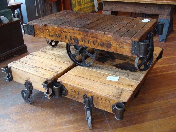 Les 9 meilleures images du tableau table basse industrielle roulettes sur pinterest design - Table basse palette industrielle vintage ...