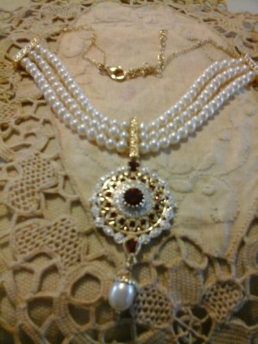 VICTORIAN-S-GARNET-PEARL-YELLOW-GOLD-STERLING-SILVER-DROP-NECKLACE-CHOKER