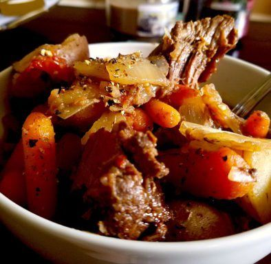 venison pot roast-only uses one packet of onion mix and omitted tomatoes.  Added…   – Delicious…make it again!