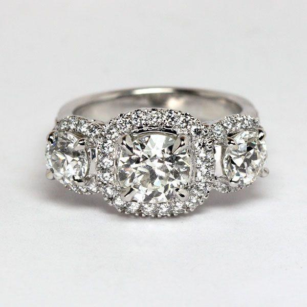 Cushion cut Diamond Three Stone Ring from Oliver Smith Jeweler.