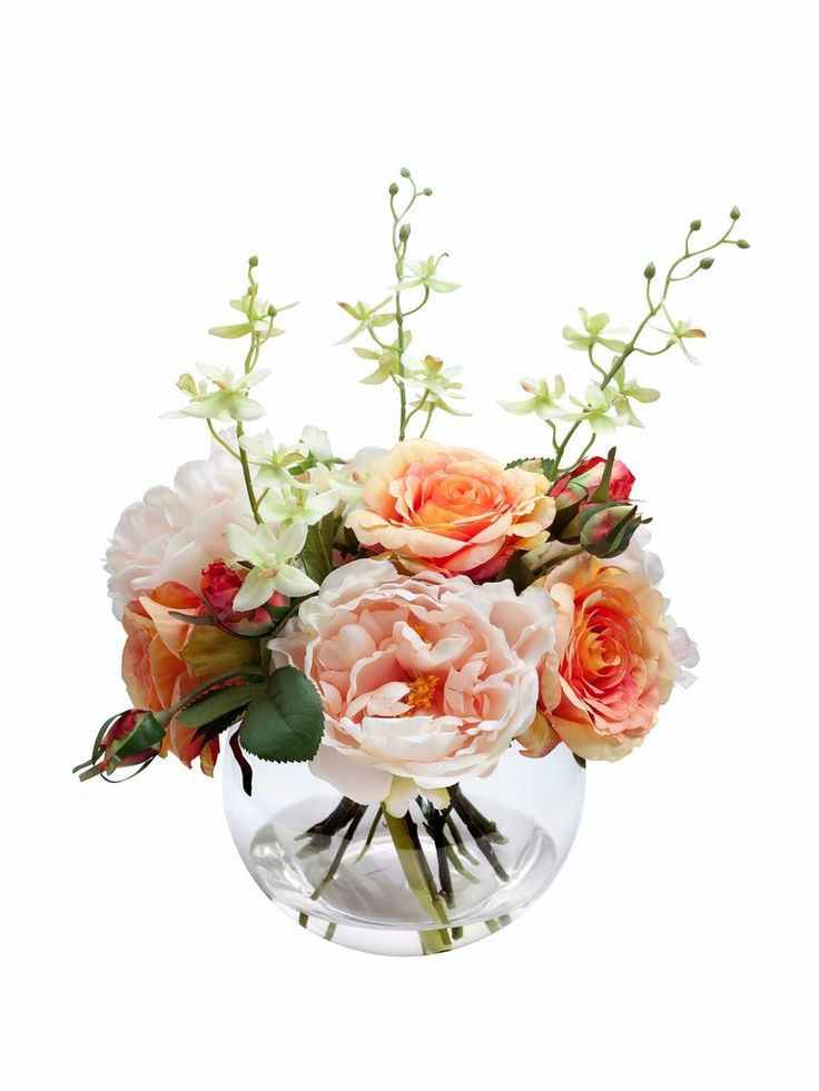 "Artificial Orange Rose and Pink Peony Bouquet - 12"" Tall"