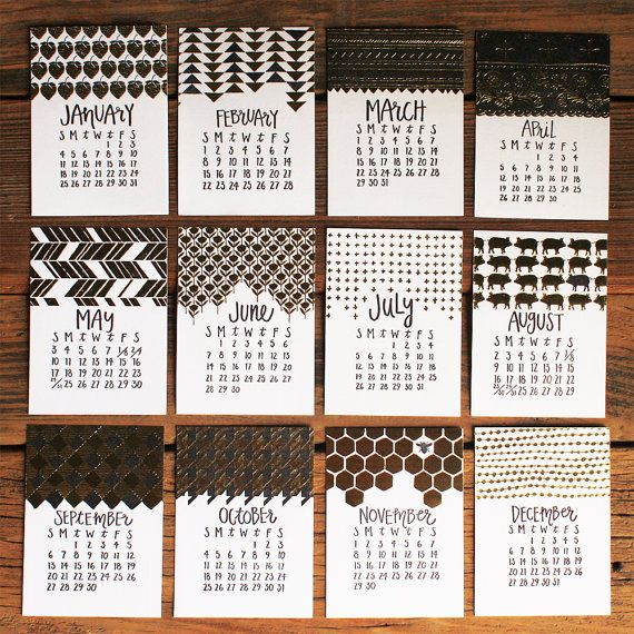 2015 Letterpress Calendar with Wood Stump by 1canoe2 on Etsy