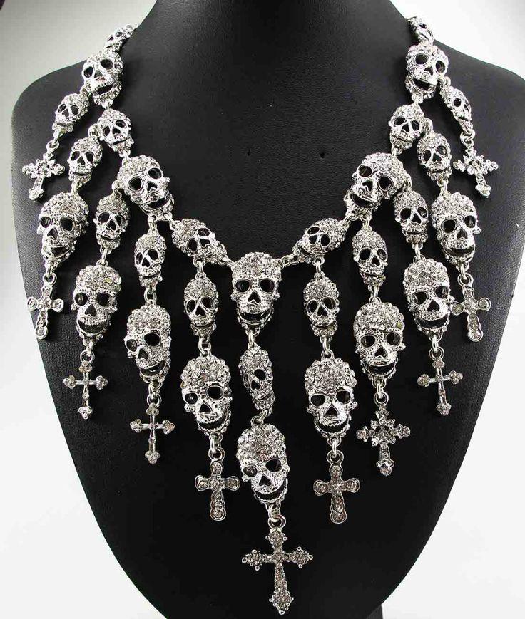Women's Skull Waterfall Crystals Necklace //Price: $19.99 & FREE Shipping //     #skull #skullinspiration #skullobsession #skulls