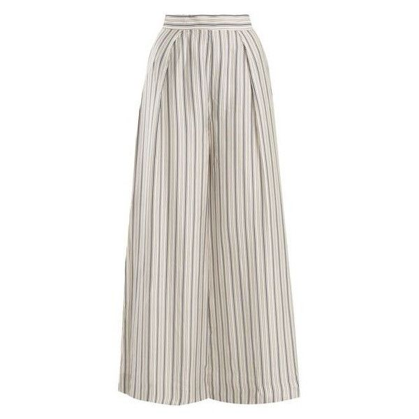Zimmermann Painted Heart wide-leg striped satin trousers ❤ liked on Polyvore featuring pants, striped wide leg pants, striped wide leg trousers, wide leg trousers, striped trousers and structure pants