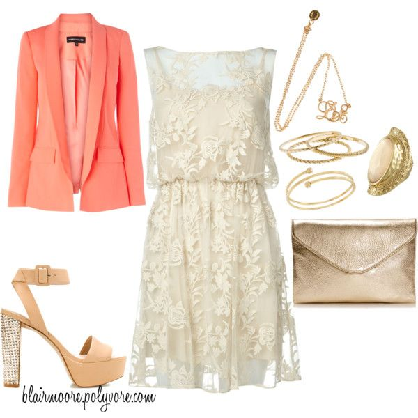 lace dress + coral blazer. perfect date look or summer wedding guest outfit. love!: Coral Blazers, Shoes Tho, Guest Outfits, Guest Dresses, Dresses Wedding Guest, Bridal Shower Outfits, Dresses 3, Lace Dresses, Amazing Dresses