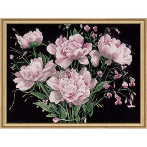 Pink Flowers Counted Cross-Stitch Kit - Herrschners #peonies