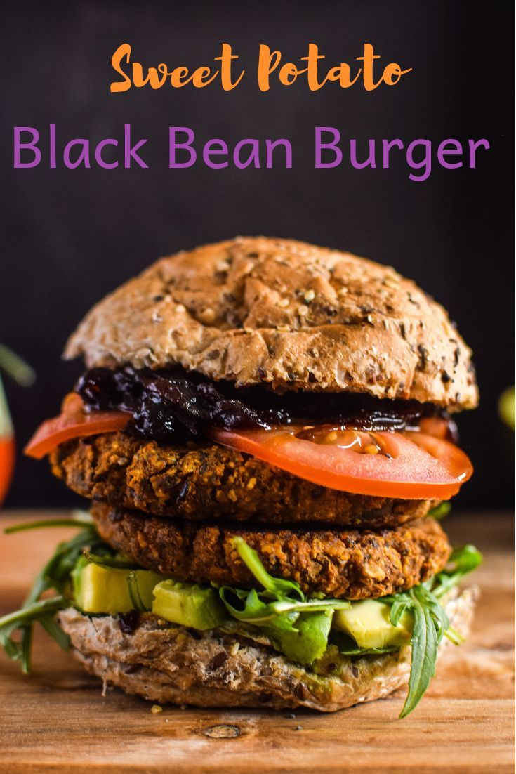 Quick Easy Vegan Gluten Free These Sweet Potato Black Bean Burgers With Caramelised Onions Are G Sweet Potato Veggie Burger Vegan Veggie Burger Bean Burger
