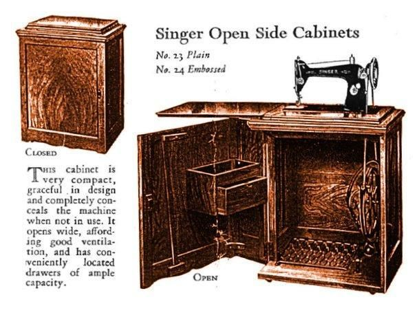 Singer Open Side Cabinets 23 and 24 · Sewing Machine CabinetsTreadle ... - 52 Best Singer Treadle Cabinets Images On Pinterest Antique Sewing