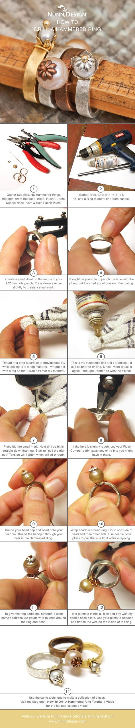 Learn How to Drill a Hammered Ring To Create Great Wire Wrapped Jewelry!
