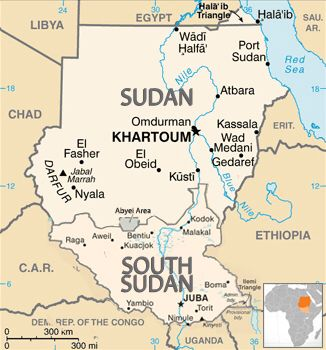 This is Sudan and South Sudan. They used to join together to create the biggest country in Africa. But, Sudan split in 2011 due to religious differences and ethnic differences.