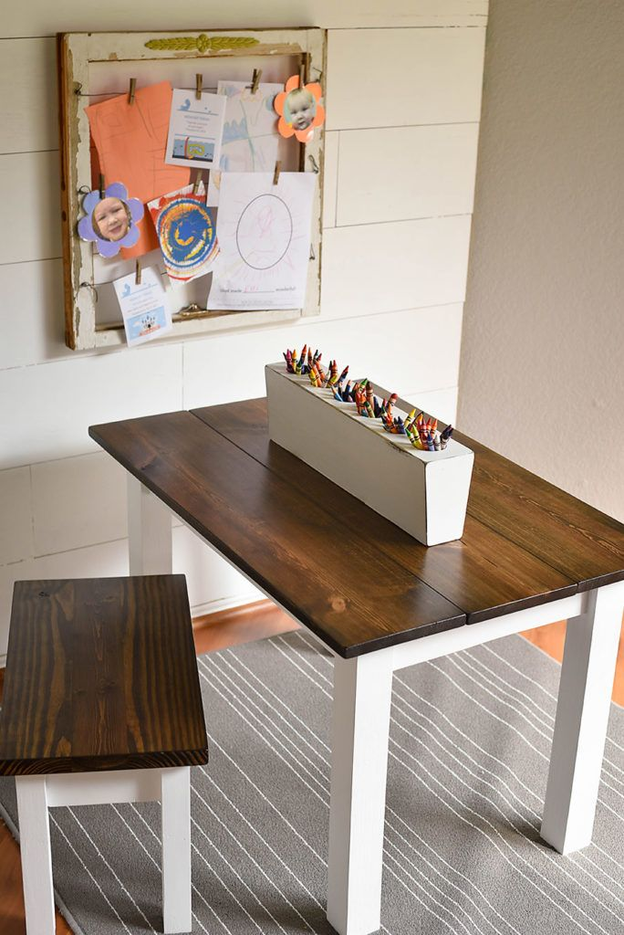 How To Make A Diy Farmhouse Kid S Table Our Handcrafted Life Kids Art Table Diy Farmhouse Table Diy Kids Table