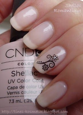 Tines Kosmetikblog: Nochmal CND Shellac Romantique...I actually like this look, very business formal! I think a very very light pink would look nice here!