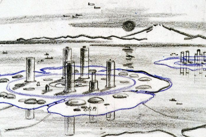 Sketch for floating city, Kikutake Kiyonori 1960