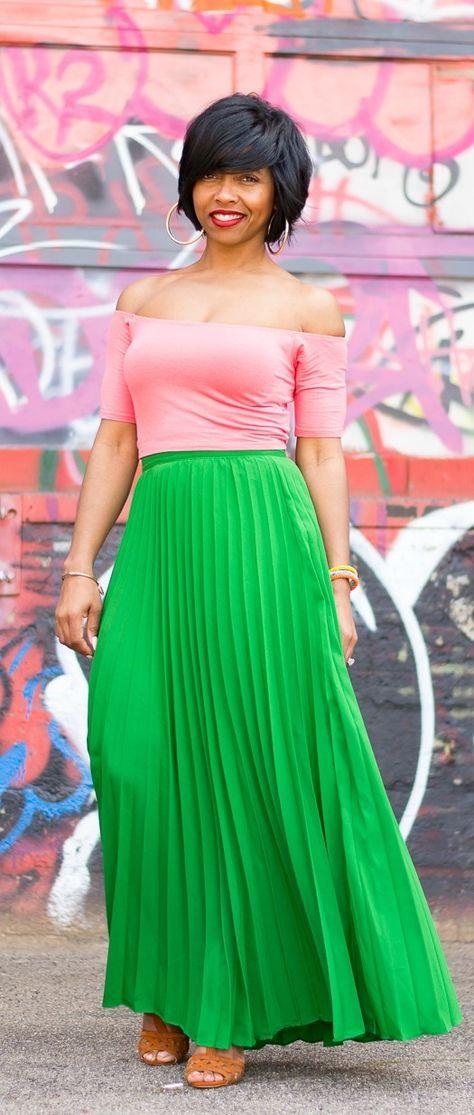 Pleated Skirt, Green Skirt, Indianapolis style blog, crop off shoulder top, high waist skirt
