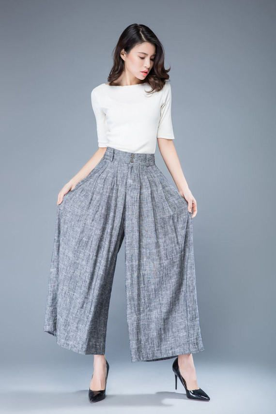 linen pants loose trousers high waisted trousers womens