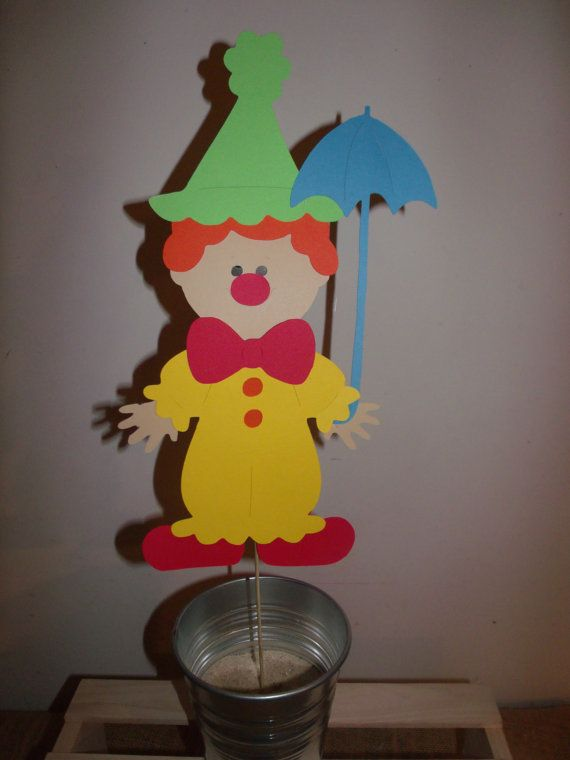Circus Theme Centerpieces | Items similar to Circus Theme Large Clown Centerpiece 10 Inches on ...