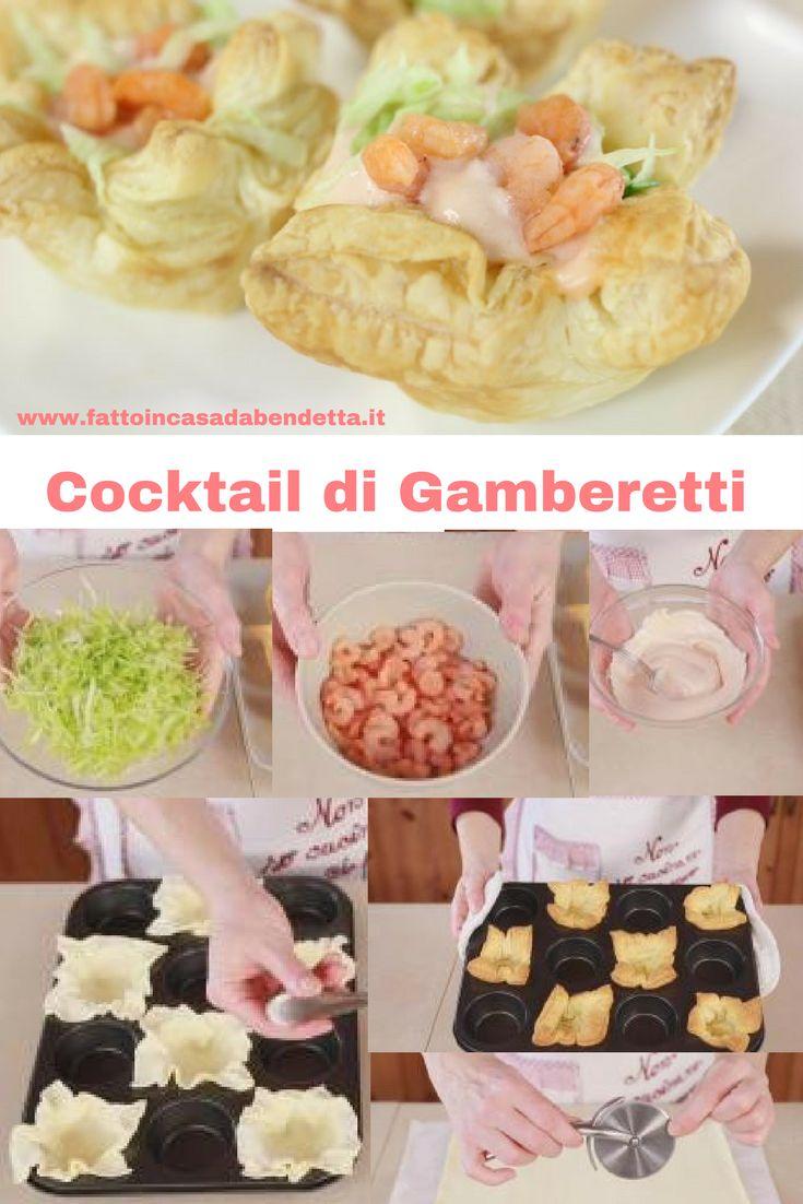 COCKTAIL DI GAMBERETTI in cestini di sfoglia, ricetta facile per un antipasto di Natale raffinato ed elegante.